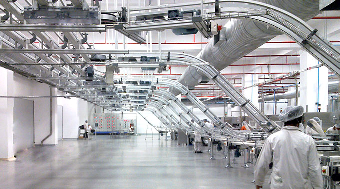 Elevated production flows reclaim valuable floor space.
