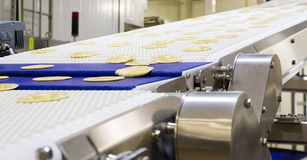A clean, hygienic production environment increases considerably when handling un-packed food in wet and even dry environments.